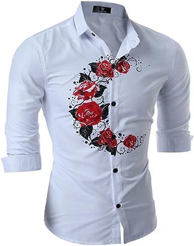WanYang Camisas Hombre De Marca Manga Larga De Moda Flores Casual Delgado Estilo Camisas De Vestido: Amazon.es: Ropa y accesorios