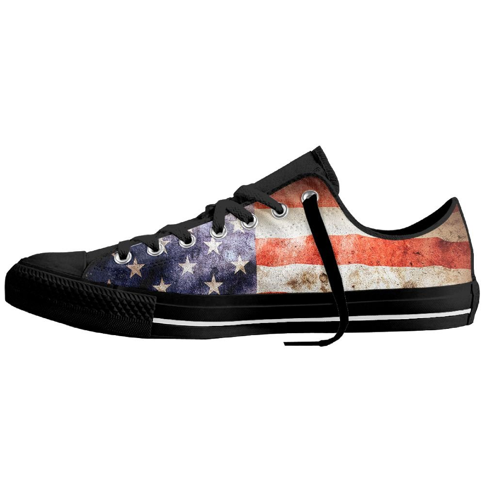 bf1e26933ab74 Amazon.com: Vintage American Flag Low-Top Sneaker Canvas Shoes Men ...
