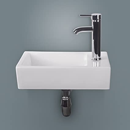 Sliverylake Wall Mount Rectangle White Porcelain Wall Hung Corner Ceramic  Vessel Sink Small U0026 Chrome