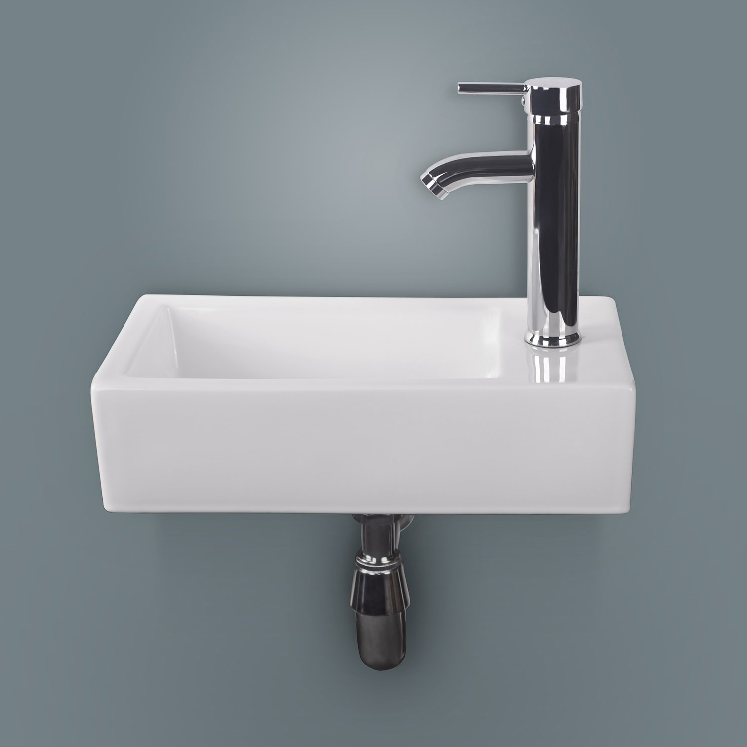 Sliverylake Wall Mount Rectangle White Porcelain Wall-Hung Corner Ceramic Vessel Sink Small & Chrome Faucet Combo