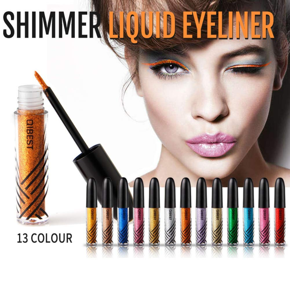 Liquid Eyeliner,Shouhengda Glitter EyeLiner For Women Easy to Wear Waterproof Pigmented Shimmer Liquid Eyeliner Glitter Makeup (13 Colors Sets)