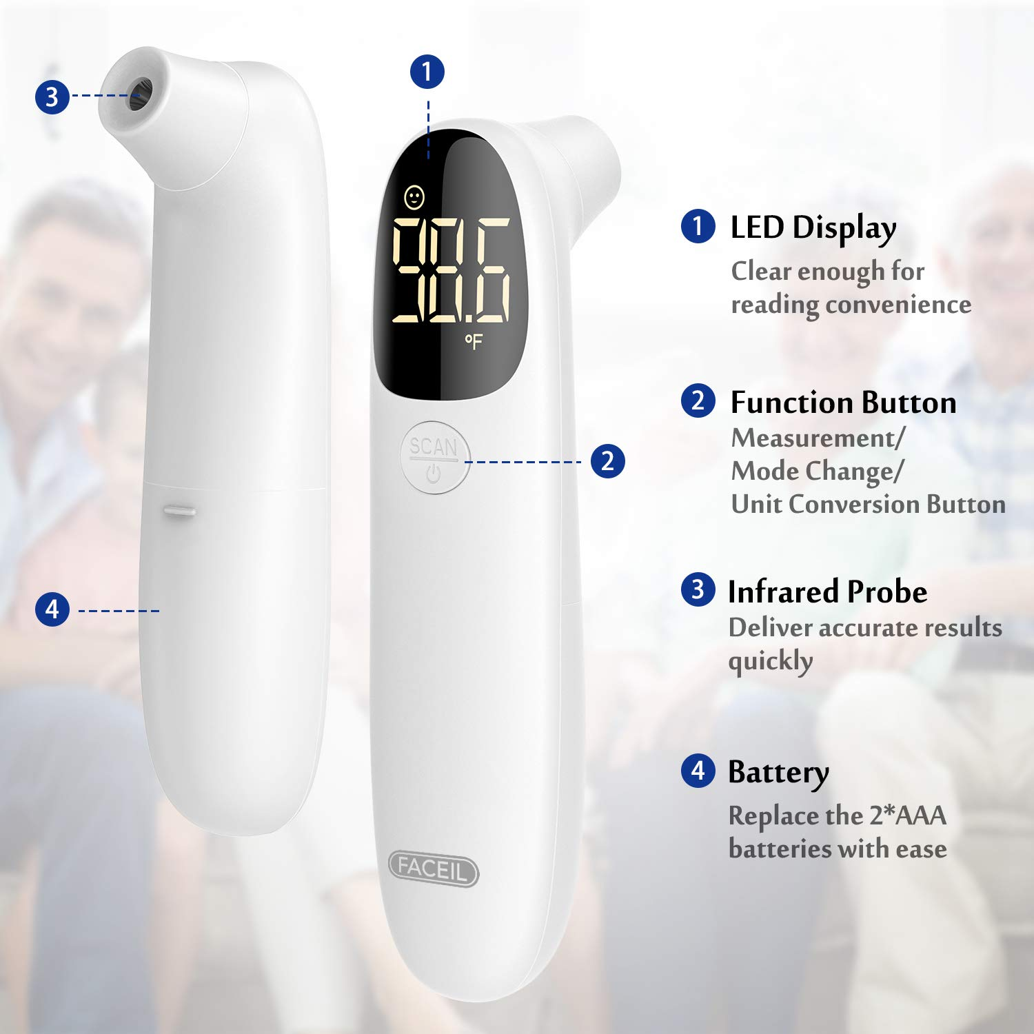 [All New 2020] Forehead Thermometer for Fever by FACEIL, Touchless Infrared Thermometer with Fever Alert and 32 Group Memory Recall, Digital Thermometer for Adults and Babies (1 Second Fast Reading): Industrial & Scientific