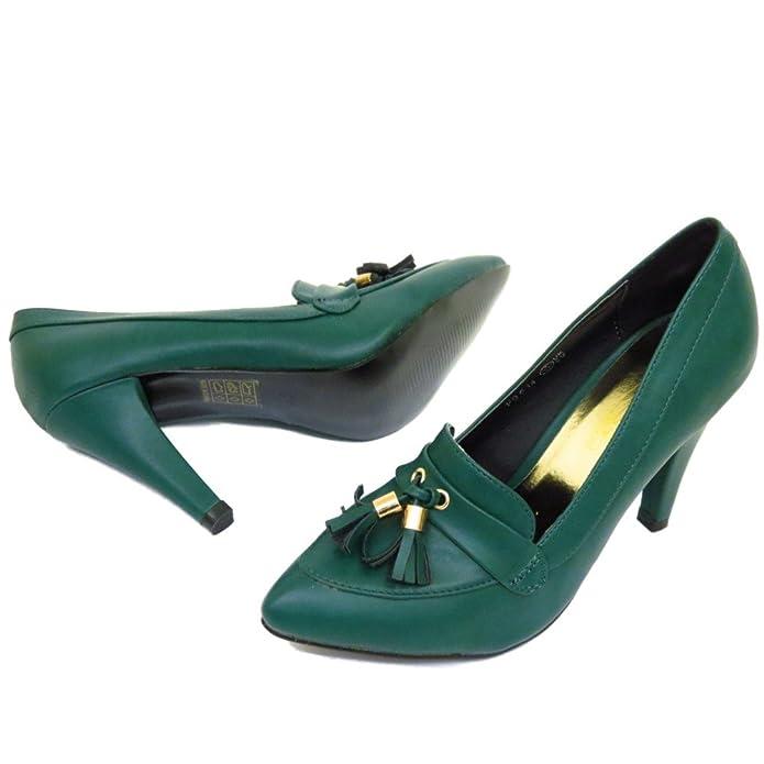 Damen-grün zum Reinschlüpfen Spitz Hof Works Stiletto Halbschuhe Fransen  Schuhe Pumps Größen 3-8 - Grün, 6 UK: Amazon.de: Schuhe & Handtaschen
