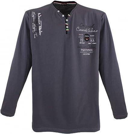 TALLA 3XL. LV-704 Lavecchia - Camiseta de manga larga para hombre (talla 3-8), color negro