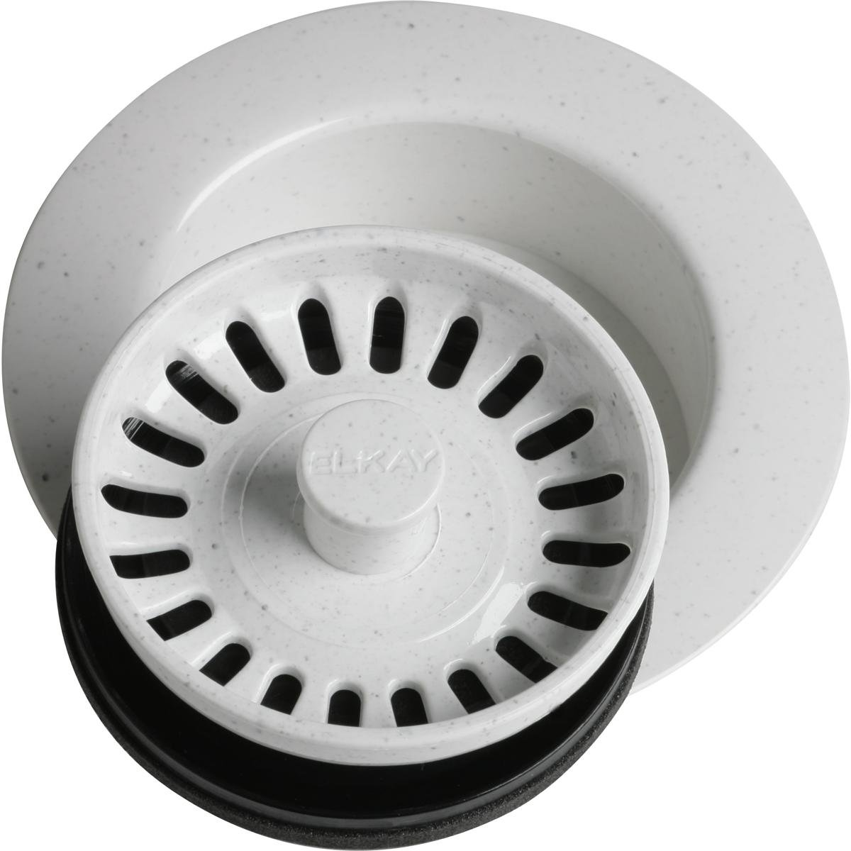 Elkay LKD35WH White Polymer Disposer Flange Fitting with Removable Basket Strainer and Rubber Stopper