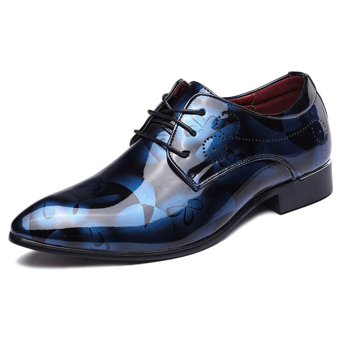 Jiyaru Oxford Dress Shoes for Men Formal Business Lace Up Blue Asian 48 / US 11.5