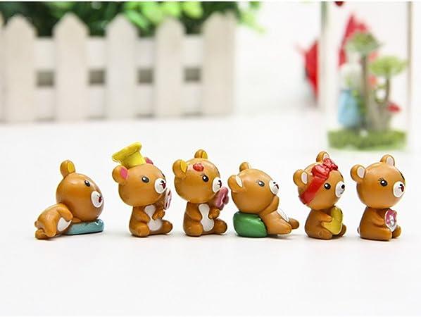 LanLan Jouets R/éveils /éducatifs 12 pcs lot Mini R/ésine Ours Poup/ée Miniature Jardin Terrarium Bonsa/ï D/écor Artisanat B/éb/é Jouets Dark