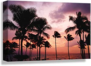 B2T NWT Canvas Wall Art Palm Tree Sunset Avenue, Glory Afternoon Painting Artwork for Home Prints Framed - 16x24 inches