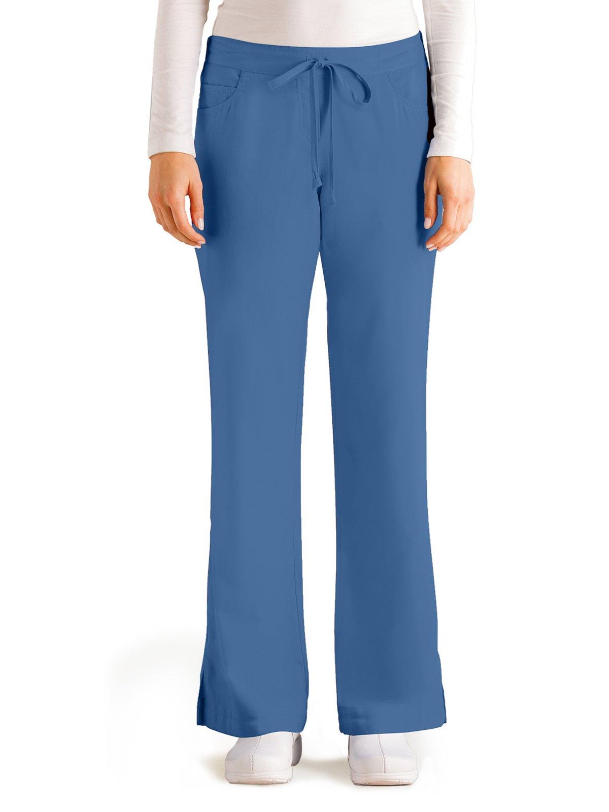 Grey's Anatomy Women's Junior-Fit Five-Pocket Drawstring Scrub Pant - XX-Small - French Blue