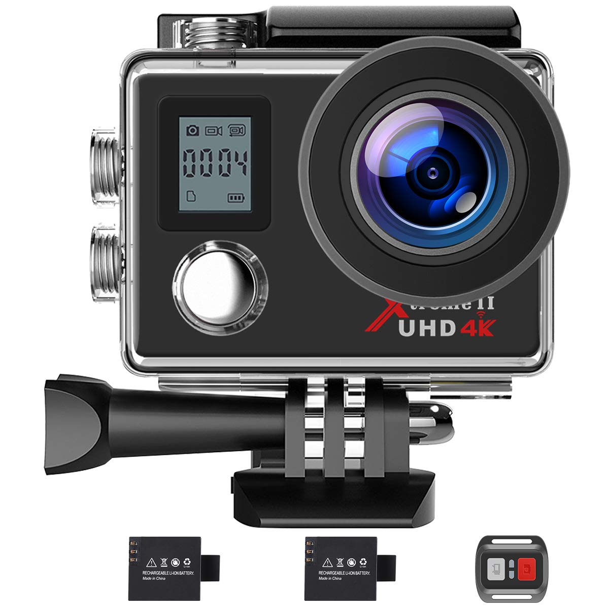Campark Action Camera 4K WiFi Ultra HD Sports Cam Underwater Waterproof 30M 170°Wide-Angle Lens with Remote Control 2 Recharge Batteries and Mounting Accessories Kit by Campark