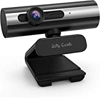 Webcam 1080P Full HD, Jelly Comb Computer Camera USB Web Camera with Built-in Microphone for Skype, Video Calling,Conferencing, Recording, Streaming (Black Silver)