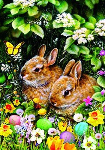 Custom Decor 2679FM Easter Garden Flag-Spring Bunnies, Green, Brown, Yellow, Purple, ()