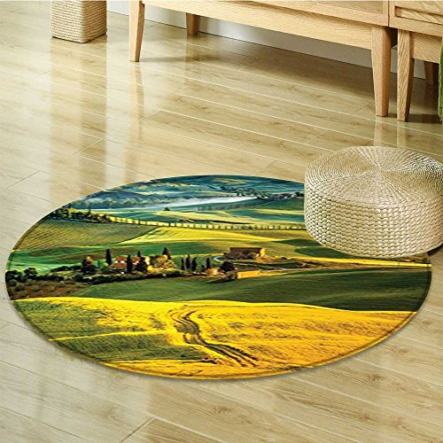 - Small round rug Carpet Tuscan Twisting Road and Cypresses to Vineyard Mustard Green door mat indoors Bathroom Mats Non Slip-Round 51