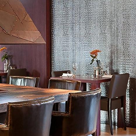 Panel decorativo autoadhesivo de diseño piel de cocodrilo WallFace 13521 CROCO con relieve gris oscuro plata 2,60 m2: Amazon.es: Bricolaje y herramientas