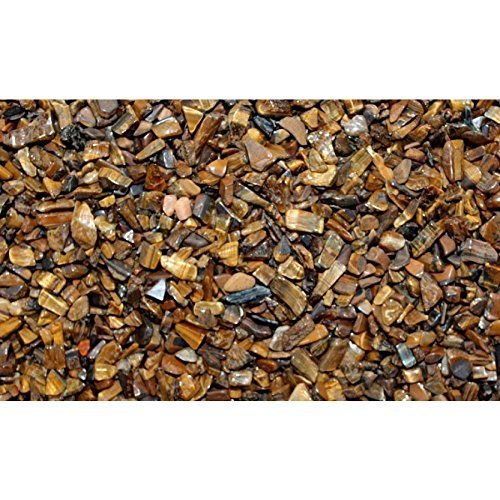 Prisha Tiger Eye Small Chips Stone For Plant Flower Pot Decoration(2.2 Lbs) (Tigers Ceramic Chip)