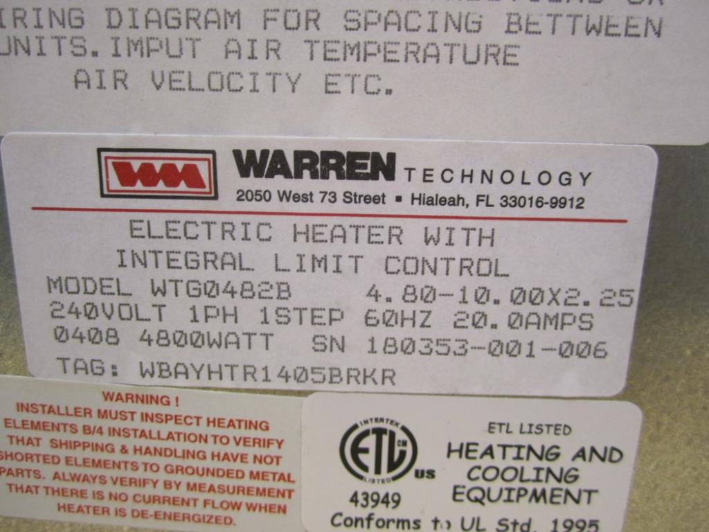 Warren Technology Wtg0482b Electric Heater With Integral Limit 240 Volt Refrigeration Wiring Diagram Control Industrial Scientific