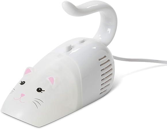 ri-Coastal Design Charge USB//Pas de Batterie, Adorable Mini Aspirateur en Forme de Chat Blanc ou Noir et C/âble USB Id/éal pour Bureau et Clavier Ordinateur White