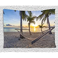 Ambesonne Tropical Decor Tapestry, Paradise Beach with Hammock and Coconut Palm Trees Horizon Coast Vacation Scenery, Wall Hanging for Bedroom Living Room Dorm, 80 W X 60 L Inches, Multi