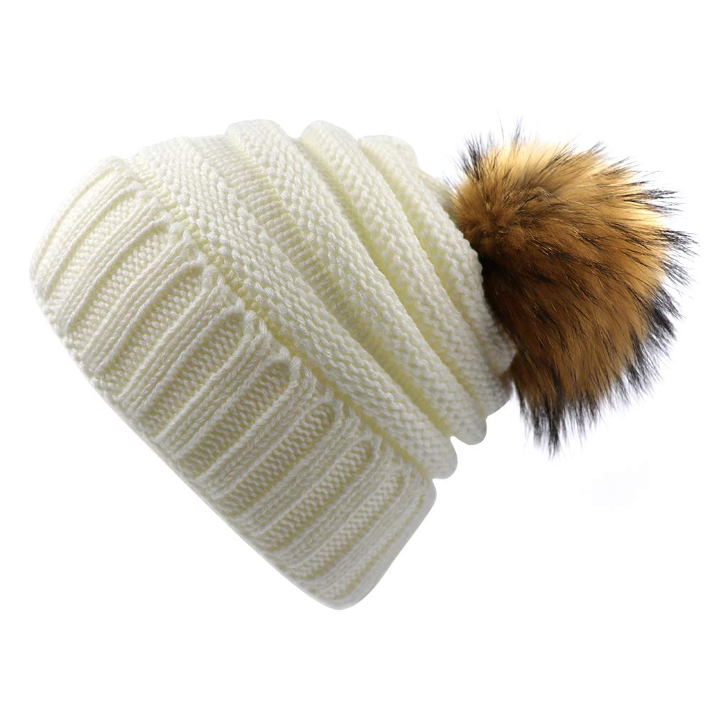 Lvaiz Womens Winter Knit Slouchy Beanie Hats Oversized Chunky Faux Fur Pom  Pom Hat Bobble Hat Ski Cap for Girls White at Amazon Women s Clothing store  afe2264a74a