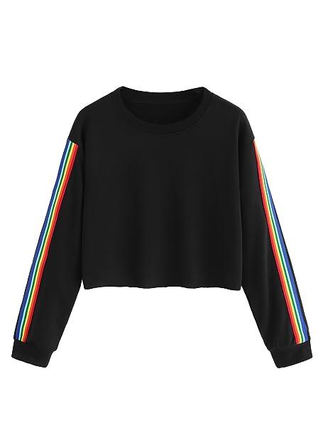 983514f6cc402 MAKEMECHIC Women s Rainbow Color Block Striped Crop T-Shirt Pullover Shirt  Black S