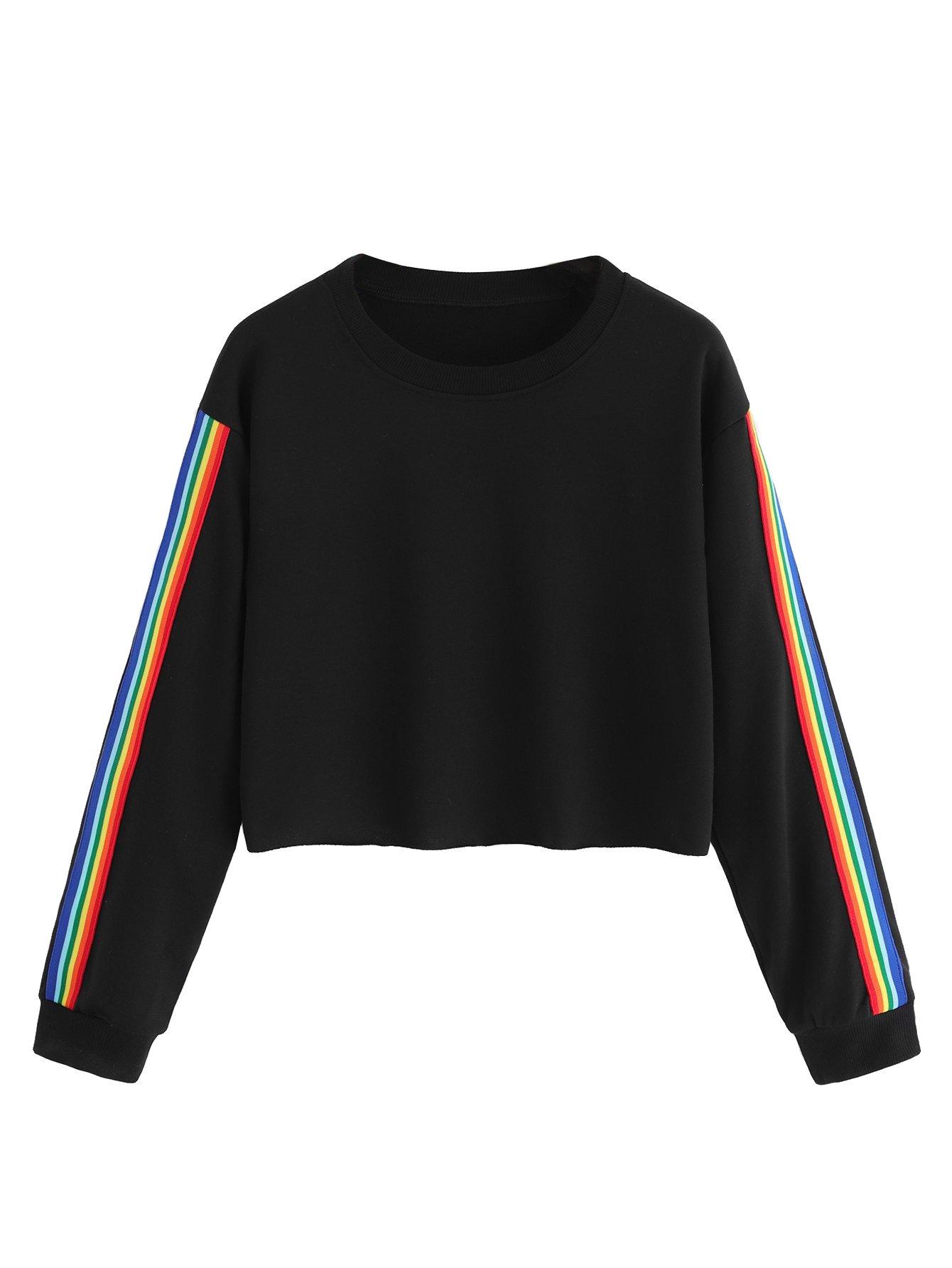 MakeMeChic Women's Rainbow Color Block Striped Crop Top Sweatshirt Black L