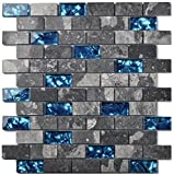 Ocean Blue Glass Nature Stone Tile Kitchen Backsplash 3D Bath Shower Accent Wall Decor Gray Wave Marble 1 x 2 Subway Art Mosaics TSTNB03 (11 PCS [11.8'' X 11.8''/each])