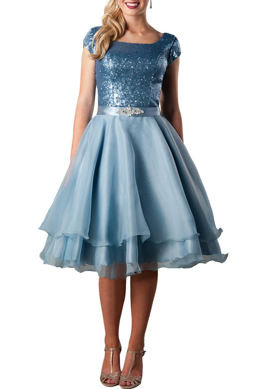 MARSEN MARESN Women's Sequin Sleeves A Line Knee Length Bandage Evening Prom Dress Blue Size 18