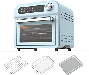 Air Fryer Oven Toaster Oven - 8 in 1 Combo,Convection Roaster with Dehydrator, 11QT 1500W For Large Family, Original Recipe and Accessories Included, LED Touch Screen,FDA Stainless Steel(Green 11QT 1500W)