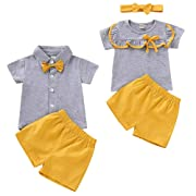 puseky Baby Girls Boys Short Sleeve T-Shirt Tops Short Pants Brother and Sister Matching Outfits Set (3M-6M, Sister)
