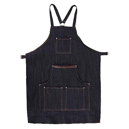 Everpert Jeans Denim - Delantales de soldador de taller, bolsillo para hombres y mujeres, cocina, cocina, baberos