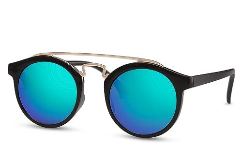 Cheapass Occhiali da Sole Occhiali Rotondi Neri Specchiati UV400 Uomini Donne