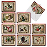M1760XS Lacy Holidays: 10 Assorted Christmas Notecards Feature Victorian Sentimental Images, w/White Envelopes - Fold Over Cards