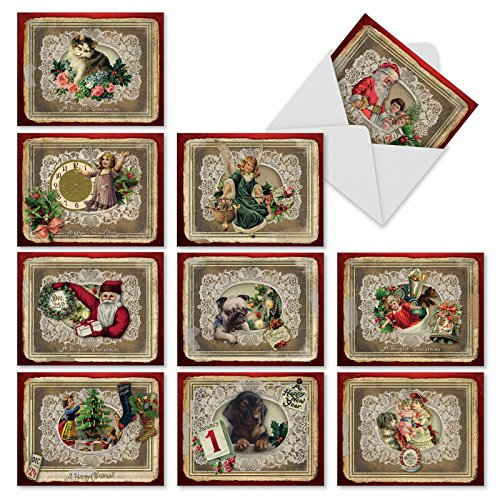 10 Assorted 'Lacy Holidays' Christmas Cards with Envelopes (Mini 4 x 5.25 inch) Antique Victorian Holiday Images Framed in Lace, Boxed Season's Greetings Cards for New Year, Parties, Gifts, M1760XS -