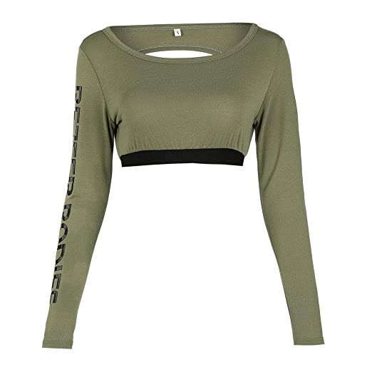 0b1a51707a5ec Women Sexy Long Sleeve Crewneck Crop Top Open Back Sweatshirt Hoodie Short  Sportswear (Army Green