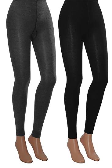 Damen Thermo Leggings Super Warm und Kuschelig schwarz Top Qualität 2 Stk