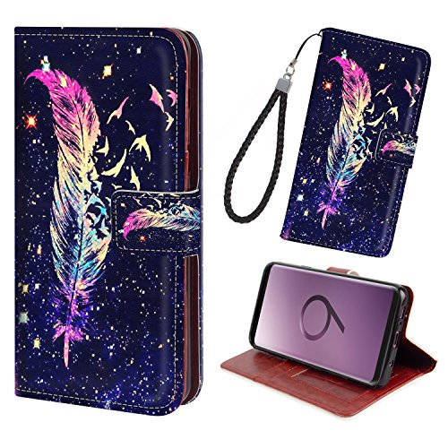 Galaxy S9 Plus/S9+ Leather Wallet Case-Flip Cover Case with 2 Credit Card Holders 1 Money Slot Magnetic Closure&Free Wrist Strap Adjustable Viewing Stand for Galaxy S9 Plus/S9+[Colorful Feather]