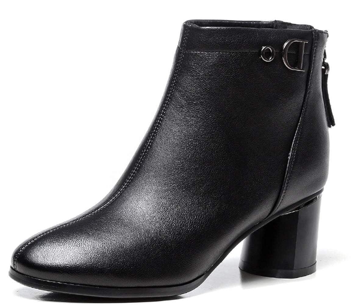 Shiney Damen Stiefeletten Mode Bequeme Chunky Heel Absatz Martin Stiefel Herbst Winter