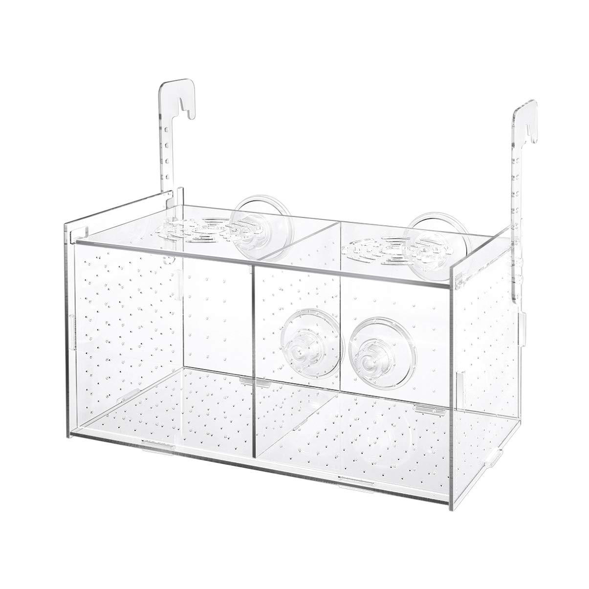 POPETPOP Fish Breeding Box – Acrylic Fish Isolation Box Aquarium Hatchery Incubator with Suction Cups for Baby Fishes…