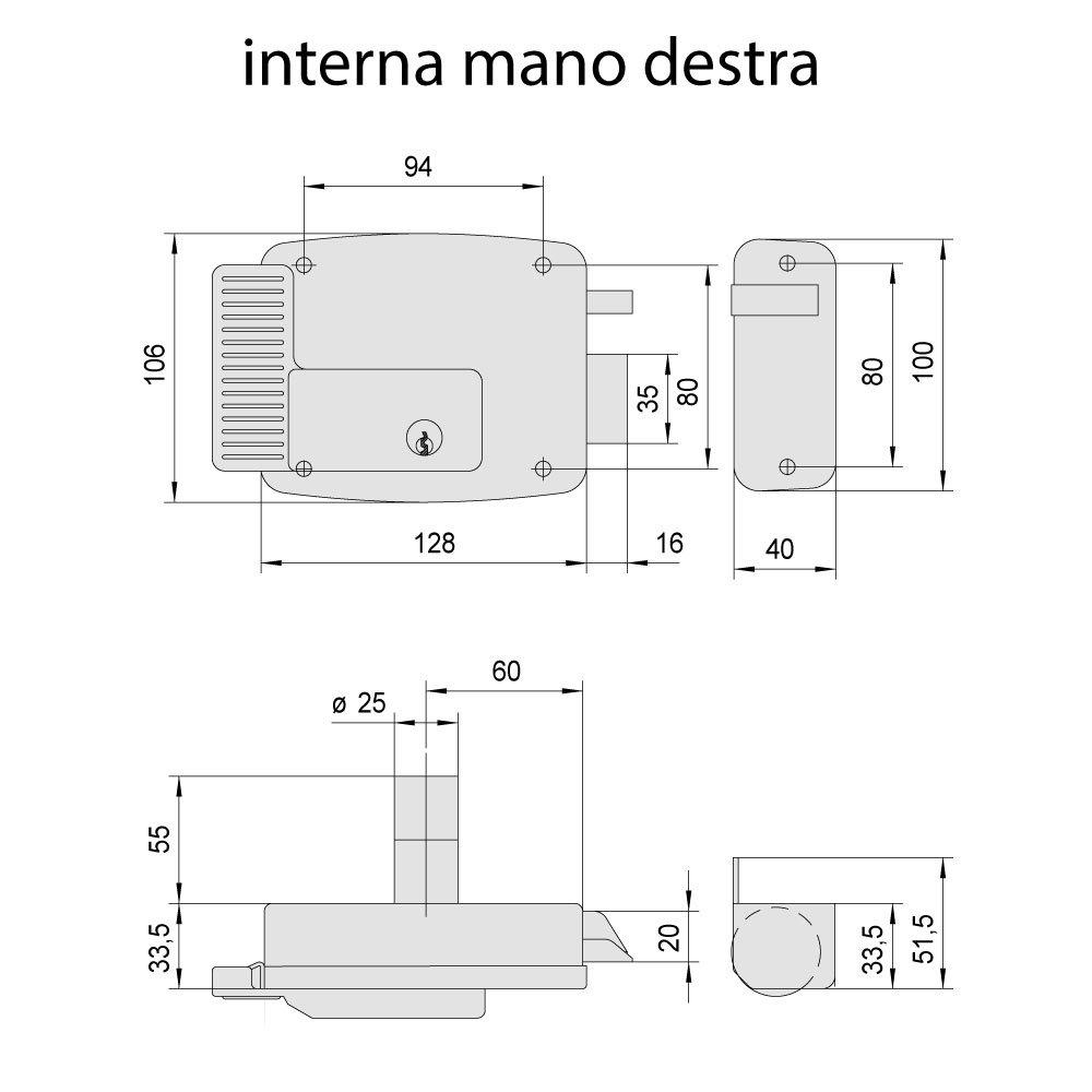 Schema Elettrico Citofono : Cisa 11721601 elettroserratura da applicare 12 v zincato entrata