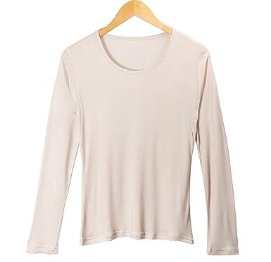 b8de19e2bcd1cc Women's 100% Pure Mulberry Silk T-Shirts Women Long Sleeve Undershirt  (Beige,