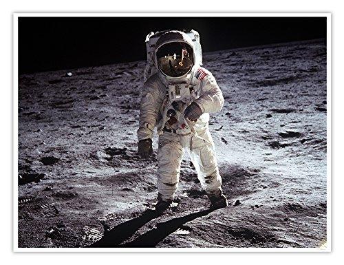 NASA Apollo 11 Moon Walk Poster First Man on the Moon Historic Photograph Handmade Giclée Gallery Print 18x24 Inches Unframed Apollo 18 Poster