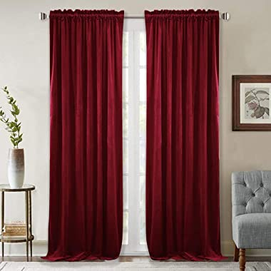 StangH Luxury Red Velvet Curtains - Extra Long 108-inch Heat & Light Reducing Thick Heavy Duty Velvet Drapes with Rod Pocket for Large Window Decor/French Door, 52 x 108 inches, 2 Pieces