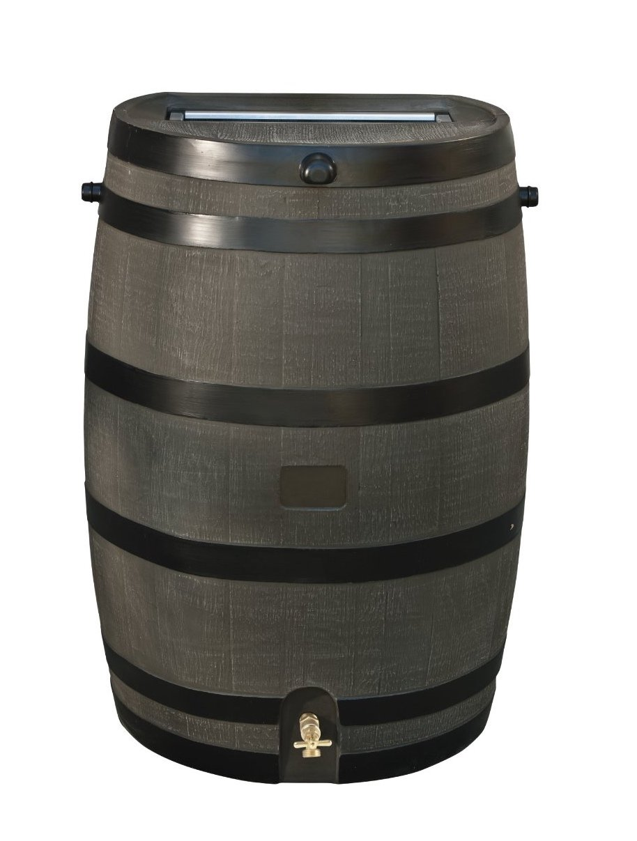 RTS Home Accents 50-Gallon Rain Water Collection Barrel with Brass Spigot, Wood Grain by RTS Companies Inc