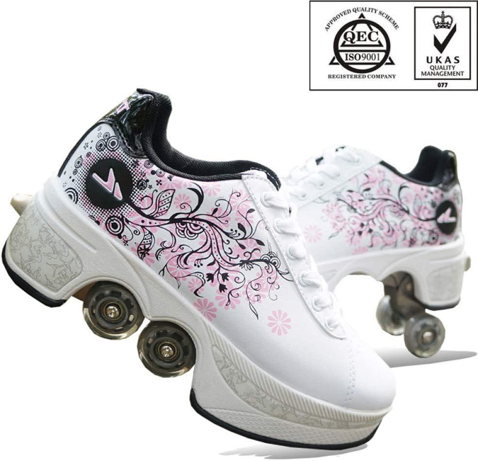 Rollschuhe Deformation Roller Schuhe Kinder Studenten Roller Schuhe Skateboard Schuhe Skating Outdoor Sports Lazy Travel,Black-35