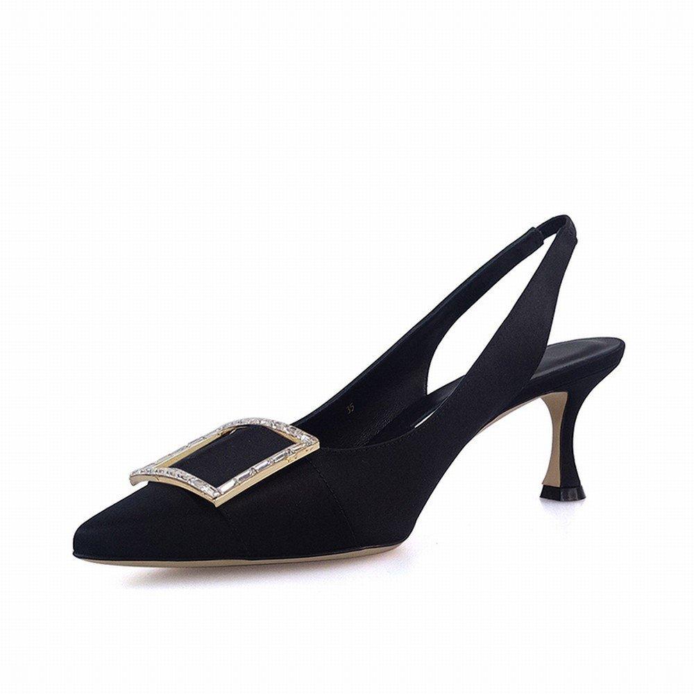 DIDIDD Spitze Quadratische Quadratische Quadratische Schnalle Zwerg mit Mode Sandalen zu Flachen Mund mit Echten Schuhen zu Tragen Schwarz 38 470f15