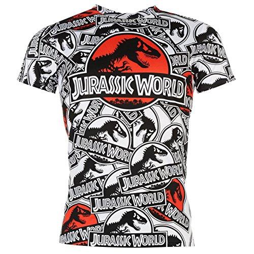 Jurásico Mundo Sub Camiseta de Manga Corta para Hombre Blanco/Negro Parte Superior tee T Shirt, Blanco/Negro: Amazon.es: Deportes y aire libre