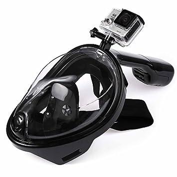 180 ° Full Face máscara de snorkel. Antiniebla y linternas Free la respiración de buceo