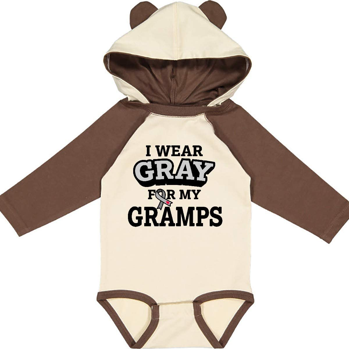 inktastic I Wear Gray for My Gramps Diabetes Awareness Long Sleeve Creeper