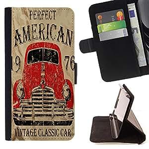 King Case - FOR Samsung Galaxy S6 - vintage classic car - Prima caja de la PU billetera de cuero con ranuras para tarjetas, efectivo Compartimiento desmontable y correa para la mu?eca