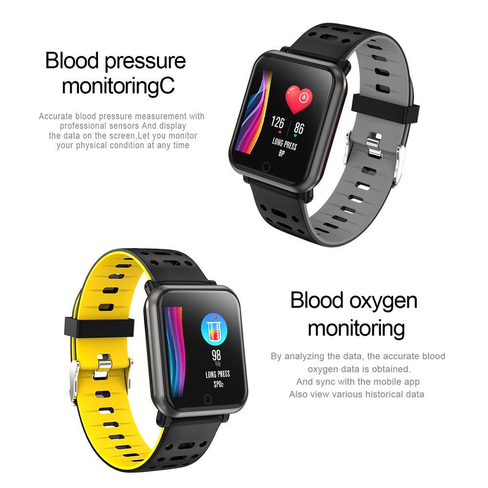 Fitness Tracker, Letopro Monitor de Ritmo cardíaco IP67 Pulsera Impermeable con presión Arterial, oxígeno en Sangre, podómetro, calorías, Monitor de ...